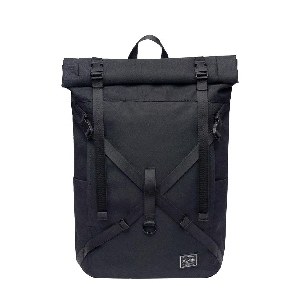 KAUKKO Rol-top 15.6 laptop rugzak - Duurzaam 600D polyester - Waterafstotend - Zwart